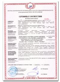 Сертификат соответствия в области пожарной безопасности на двери бытовые EI30