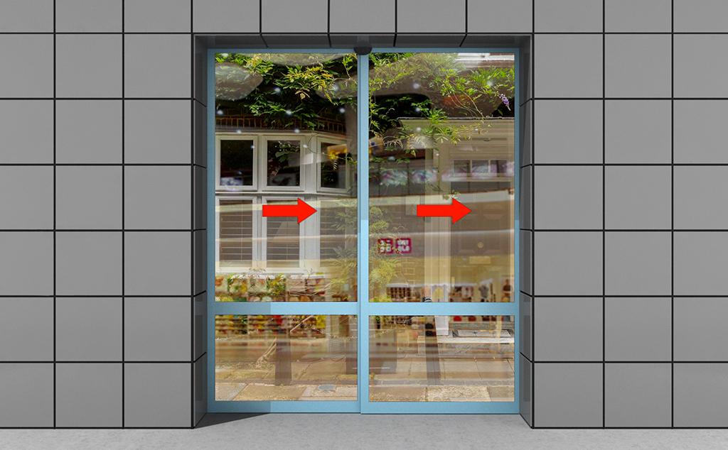 Телескопические раздвижные двери с облегченными створками