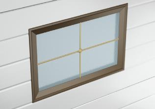Окно для гаражных ворот разделено на четыре части