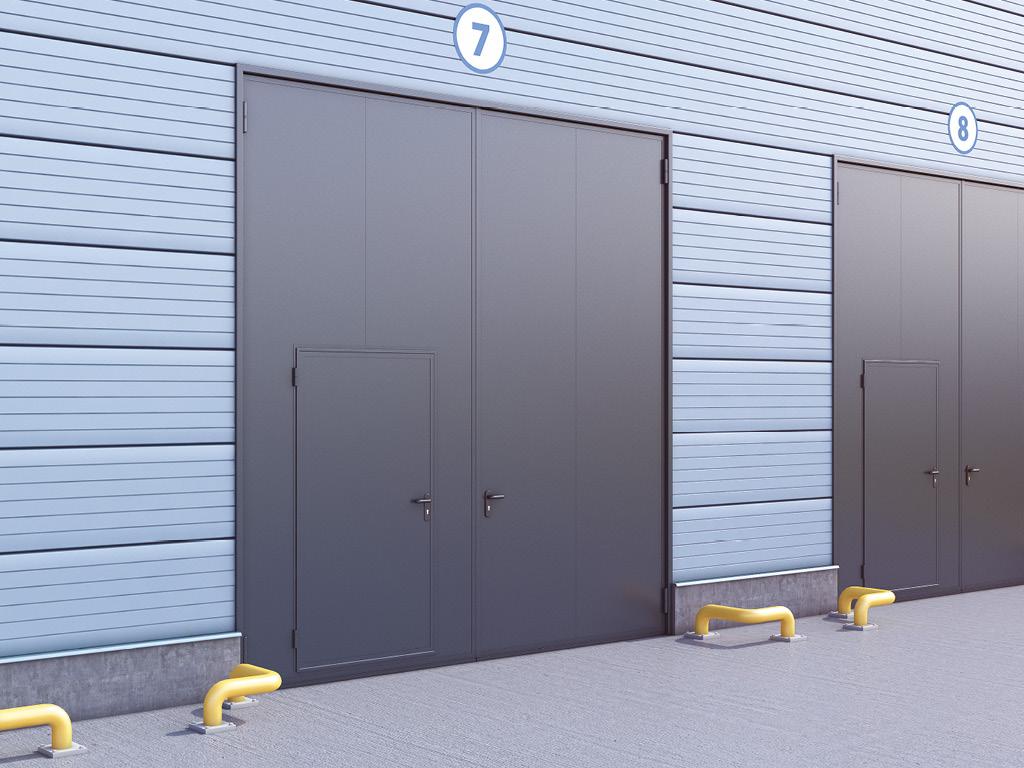 распашные гаражные ворота в стальной раме с сэндвич панелью