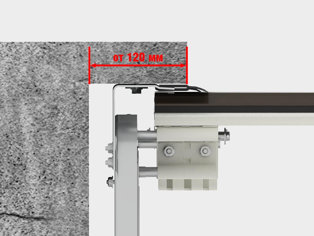 Накладной монтаж - cистема направляющих монтируется на пристенки и притолоку с внутренней стороны проема.
