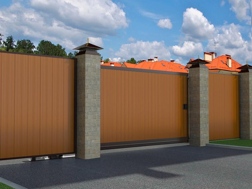 Откатные уличные ворота  в алюминиевой раме с заполнением сэндвич-панелями