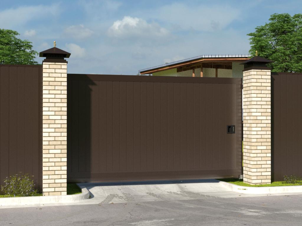 Откатные уличные ворота стандартных размеров в алюминиевой раме с заполнением сэндвич-панелями